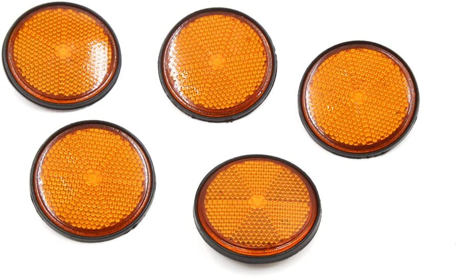 uxcell 5 Pcs Orange Black Round Light Reflective Reflector for Bicycle Motorcycle