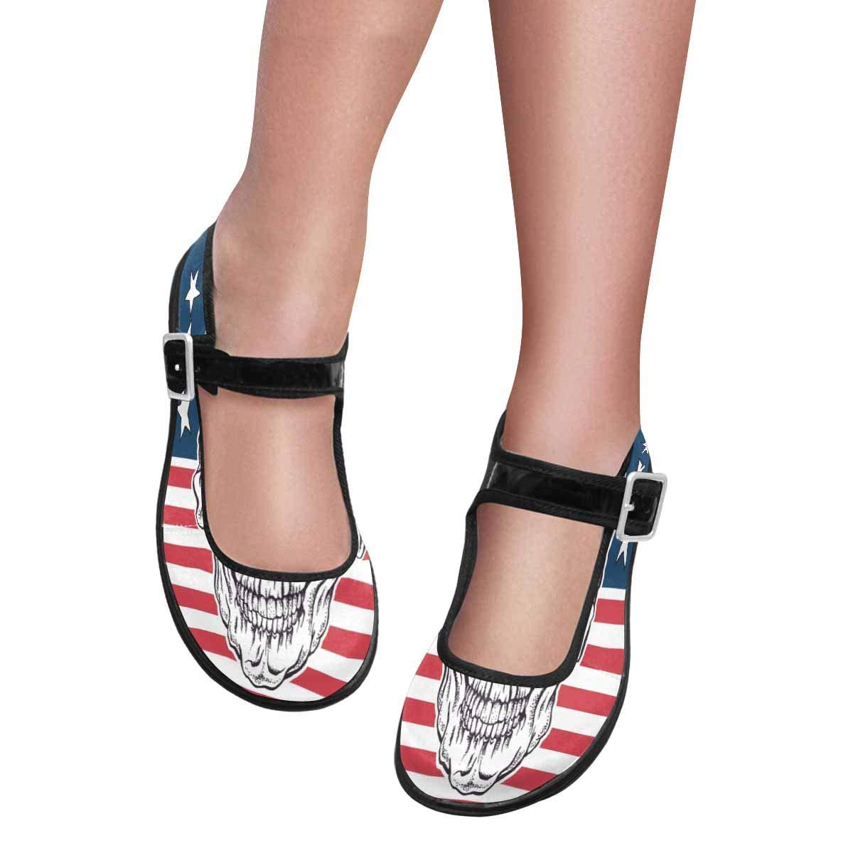 InterestPrint Women's Comfy Mary Jane Flats Walking Casual Shoes Sugar Skull in Sunglasses US8