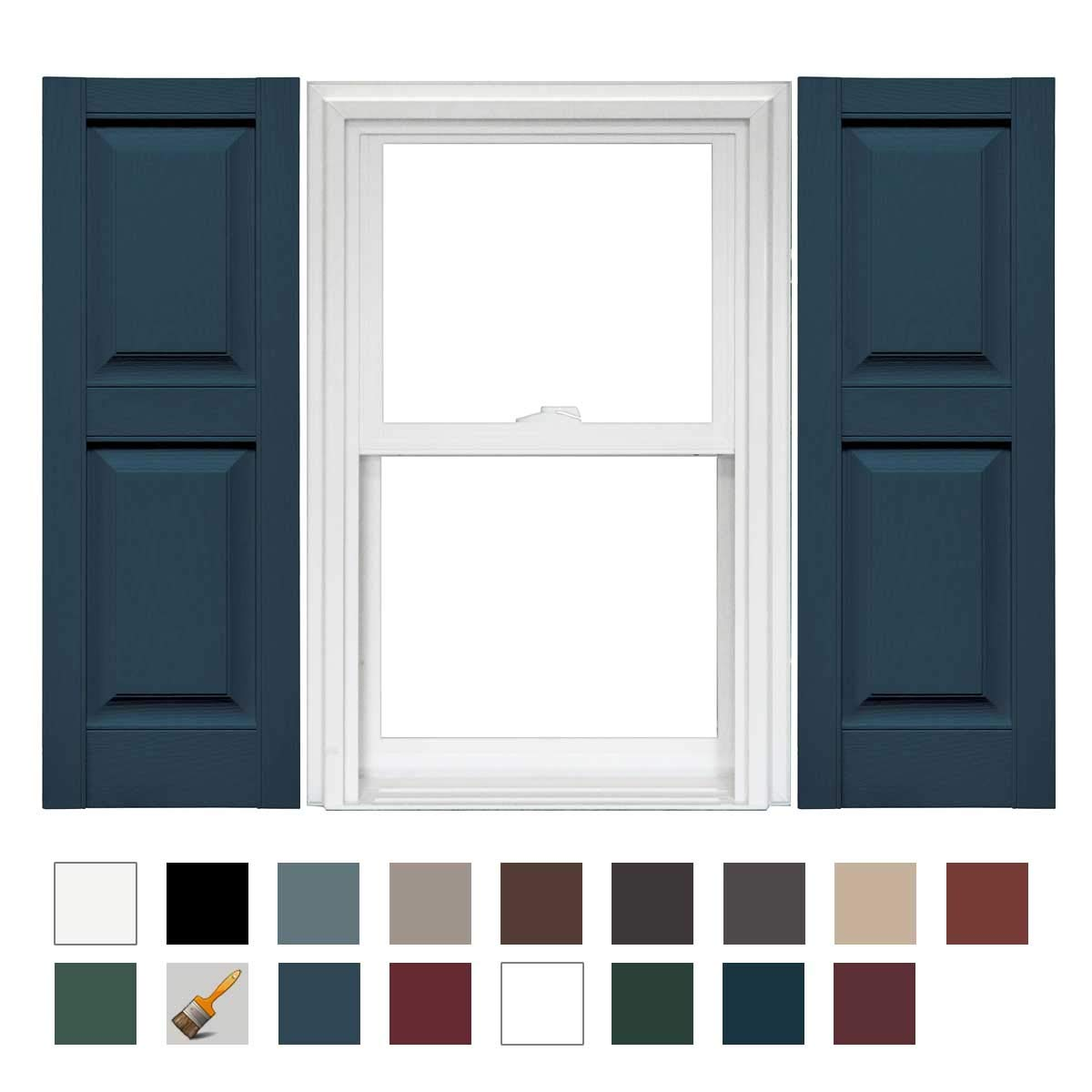 1 Pair 14.75 x 43 036 Classic Blue Mid America Williamsburg Raised Panel Vinyl Standard Shutter