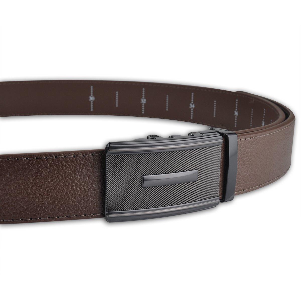 Men Designer Belt Sliding Buckle Ratchet Belt 35mm Wide 1 3/8'' Great Gift Idea by Jun Xiang (Image #6)