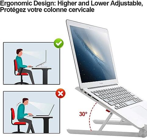 Accessoire pour MacBook Support PC Portable Aluminium Autres Laptops Dell Laptop Stand R/églable Tablette Conpro Support Ventil/é Ordinateur Portable 10-18 Pouce HP Lenovo