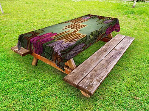 Ambesonne Once Upon a Time Outdoor Tablecloth, Calligraphic with Blossoming Vintage Flowers Frame and Caterpillar, Decorative Washable Picnic Table Cloth, 58 X 84 Inches, Multicolor (Caterpillar Frame)
