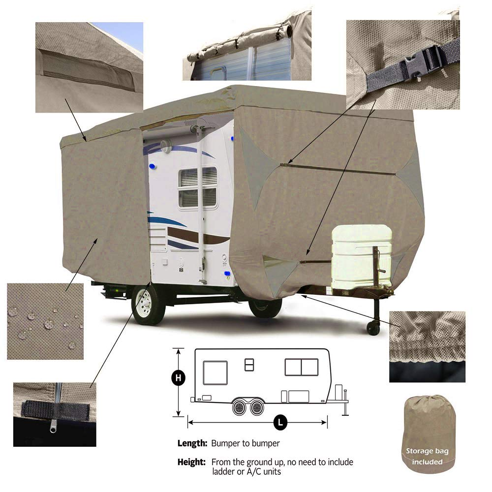 Seamander RV Cover Travel Trailer Extra Thick Triple-ply Top Panel Beige, Fits 24-27Trailers