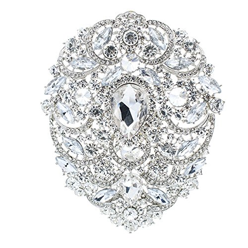 Large Crystal Rhinestone (SEP 4.9IN Rhinestone Crystals Large Egg Shape Brooch Broach Pins Women Jewelry Accessories 4045 (Clear))