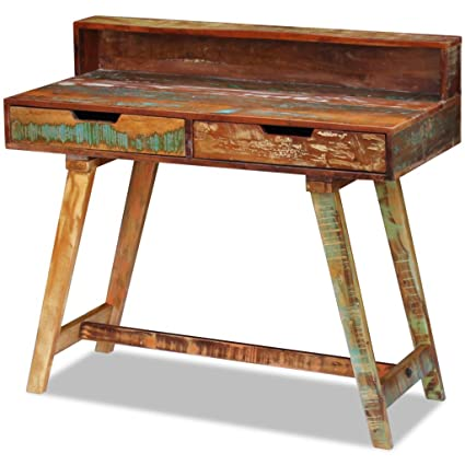 Festnight Reclaimed Wood Home Office Computer Desk Reading Study Console  Table, Multi Color