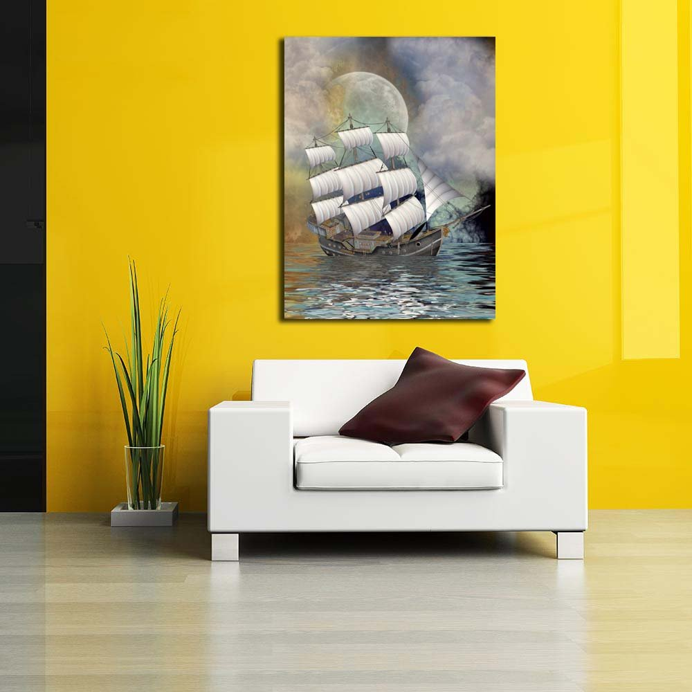 Pitaara Box Old Ship In In In Alandscape Unframed Canvas Painting 30 x 40inch 4b2f9d