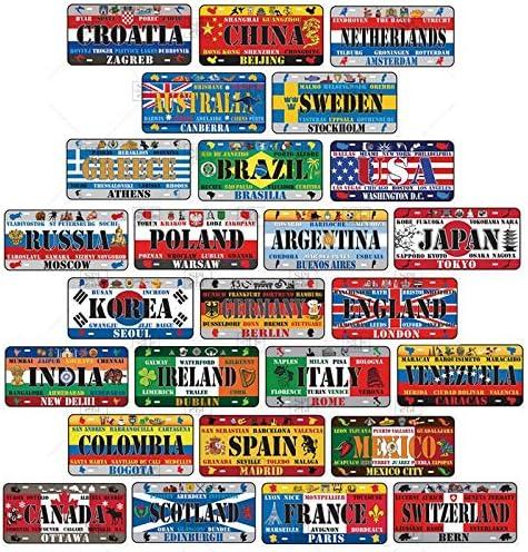 TIEMZ Muchos pa/íses Autom/óvil Motocicleta Bandera Placa de matr/ícula Placa de Metal Retro Moda Bar Cartel de Chapa Placa de Metal Decoraci/ón de Arte de Pared 15x30cm