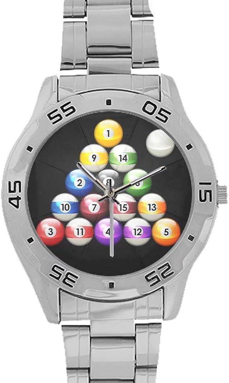 Billar Bolas de Billar Unisex Reloj de Pulsera de Acero Inoxidable ...
