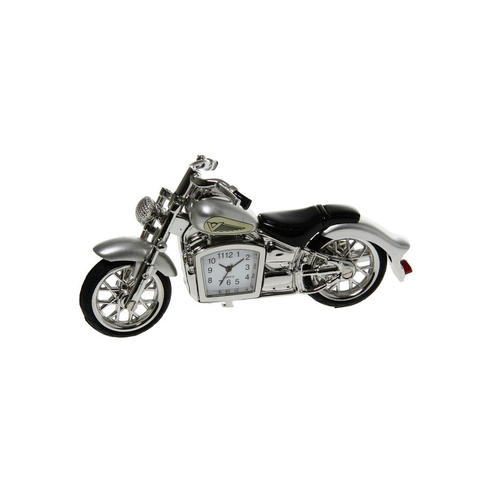 SUPERB QUALITY MINIATURE SILVER CLASSIC MOTORBIKE NOVELTY QUARTZ CLOCK BOXED SC Leisure