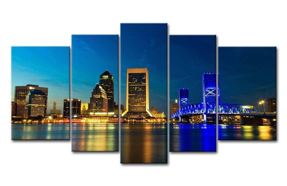So Crazyアート® 5ピース壁アートペイントJacksonville with Golden andブルーライト夜にプリントキャンバスThe Picture City Picturesオイルforホーム現代装飾印刷装飾子供の部屋 10x16inchx2Panel,8x20inchx2Panel,8x24inchx1Panel 1510313EK 10x16inchx2Panel,8x20inchx2Panel,8x24inchx1Panel  B00NIZPGIU