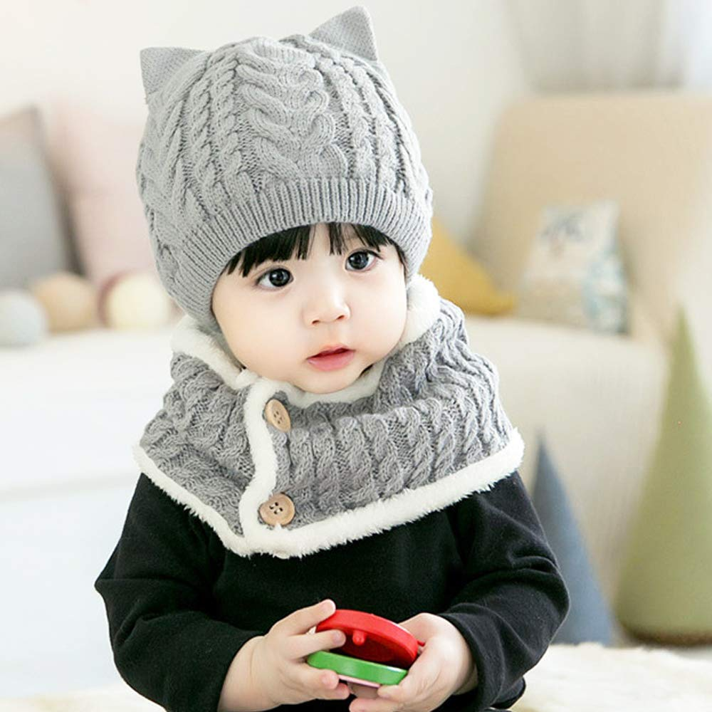 Beanie Hat Set for Toddlers 6 Months to 2 Years Old Gray CoolKo Winter Keep Warm Knitted Beanie Set Autumn Scarf Neck Warmer