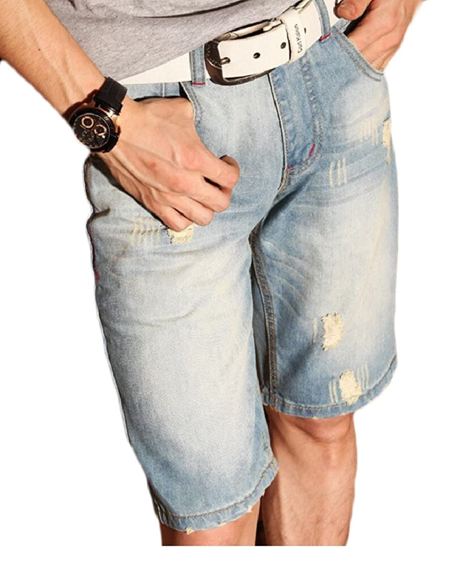 FLCH+YIGE Men Vintage Distressed Straight Slim Fit Ripped Denim Jeans Shorts