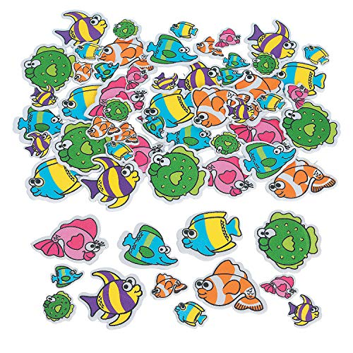 Fun Express - Tropical Fish Adhesive Foam Shapes - Craft Supplies - Foam Shapes - Regular - 500 Pieces