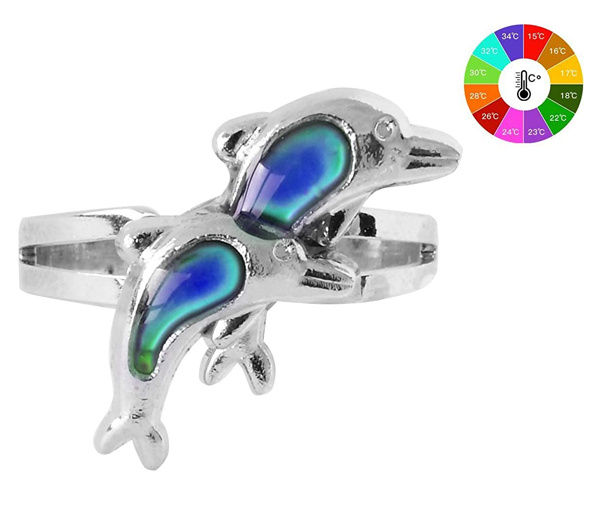 Acchen Mood Ring Unicorn Changing Color Emotion Feeling Finger Rings with Box