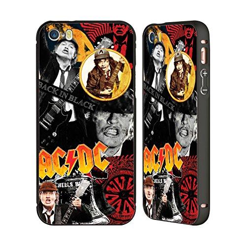 Officiel AC/DC ACDC Angus Young Collage Noir Étui Coque Aluminium Bumper Slider pour Apple iPhone 5 / 5s / SE