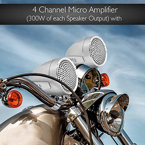 New PLMCA90 1200 Watts Motorcycle ATV  4 Ch Amp w// 4 x Weatherproof Speakers