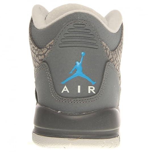Amazon.com  Nike Girls Air Jordan 3 Retro GS III Cool Grey Blue Glow Cement  Flip 441140-015  Shoes bbd4e76fa