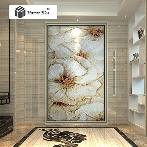 Mosaic Mural Customize Hand Made Jade Glass Beautiful White Flower