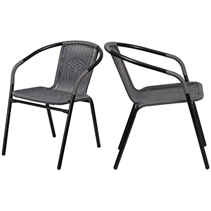 Amazon.com: KLS14 Moderna silla apilable, diseño de ratán ...