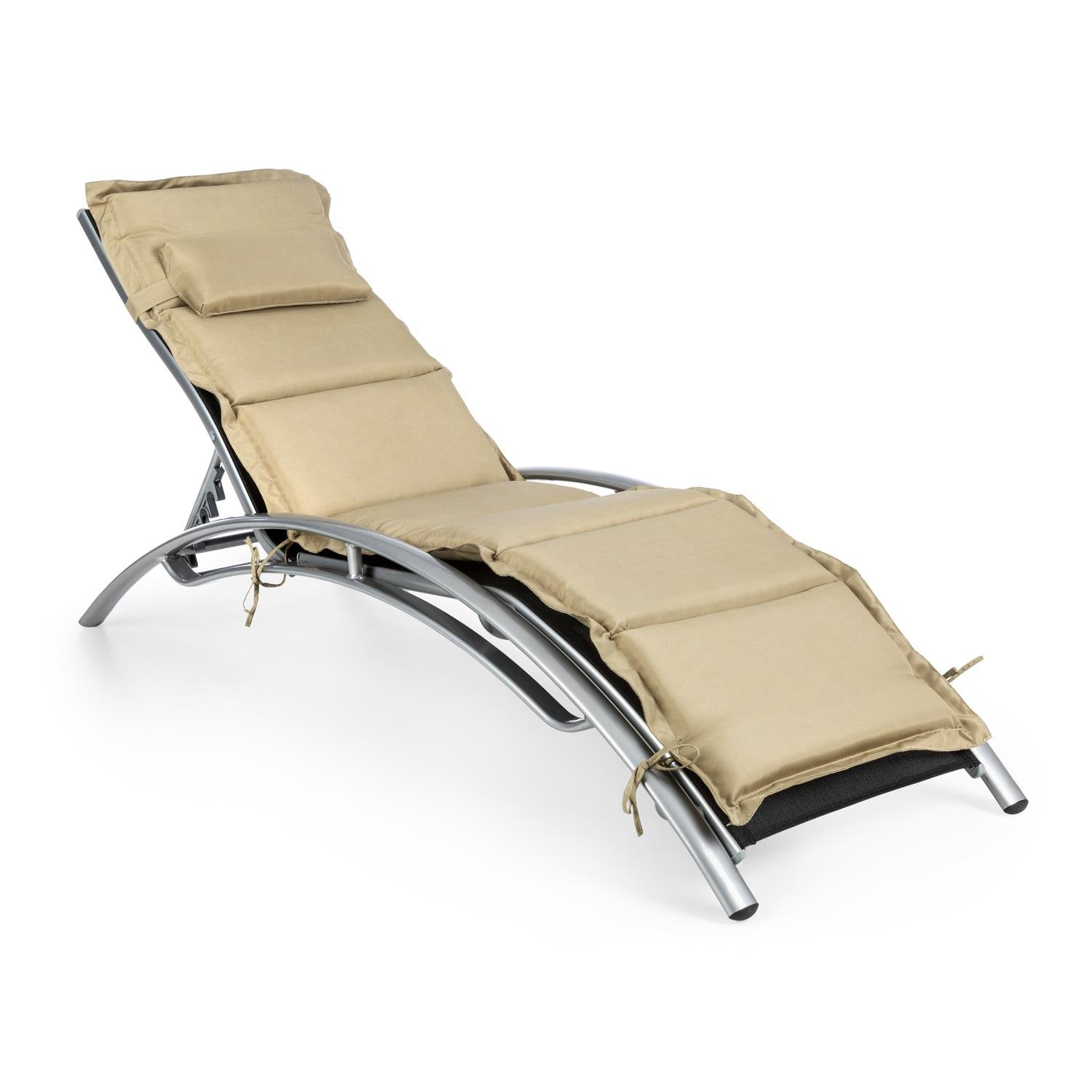 Blumfeldt Intermezzo Sun Lounger Sunbed Adjustable Backrest and Armrests Aluminium 5cm PU Padding Easy-Care Mattress Area Made of 2 x 1 Polyester Mesh Water Resistant Weather Resistant Ergonomically Shaped Durable Black / Beige
