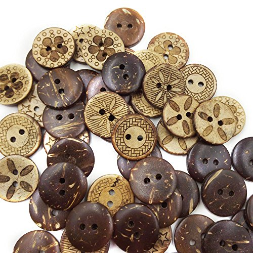 Kocome 50pcs 18mm Brown Coconut Shell 2 Holes Buttons fit Sewing Scrapbooking