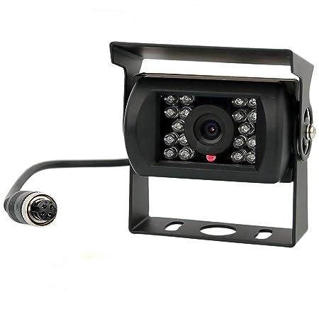 Backup Camera, Reversing Camera, Waterproof Night Vision Rear View Camera with 4 Pin GX12-4 Connector for RV Camper Truck Trailer Bus Van