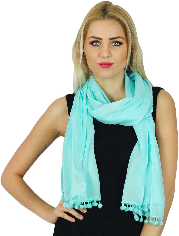 Bimba Women Long Cotton Scarf PomPom Tassel Everyday Wear Soft Scarves Navy Blue