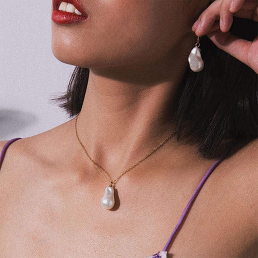 Forall Collar Colgante De Perlas Barrocas Joyas De Cadena De Perlas Cortas De dorado Para Mujeres y Niñas