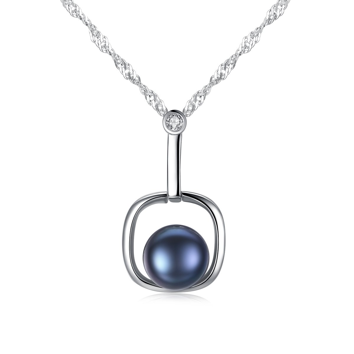 Amazon.com  Mints Black Freshwater Pearl Necklace Pendant Sterling Silver  Necklaces Fine Jewelry for Women b73989fbd