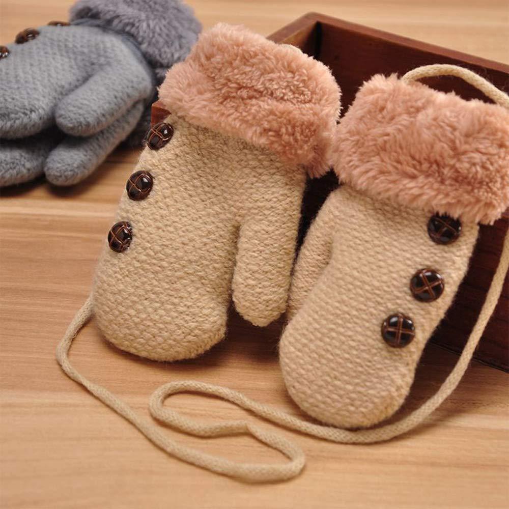 Knitted Mitten Gloves Winter Knitted Gloves Warm Gloves Kids Boys Girls Christmas Khaki