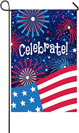 Red White Blue Fireworks Celebrate Fourth 4th of July Garden Outdoor Flag 12x18