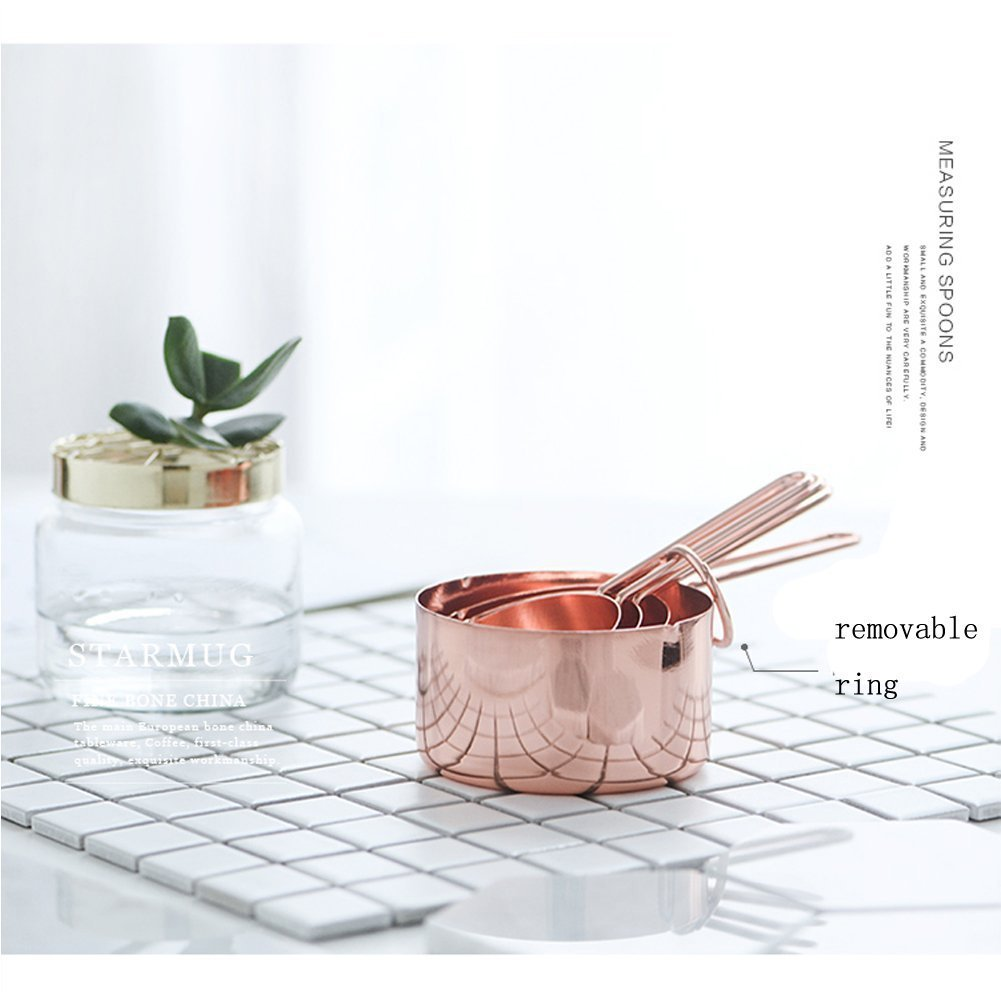 SODIAL Rose gold Stainless Steel Measuring Cups Set of 4 - Gorgeous & Heavy Duty, Mirror Polished Perfect For All Ingredients