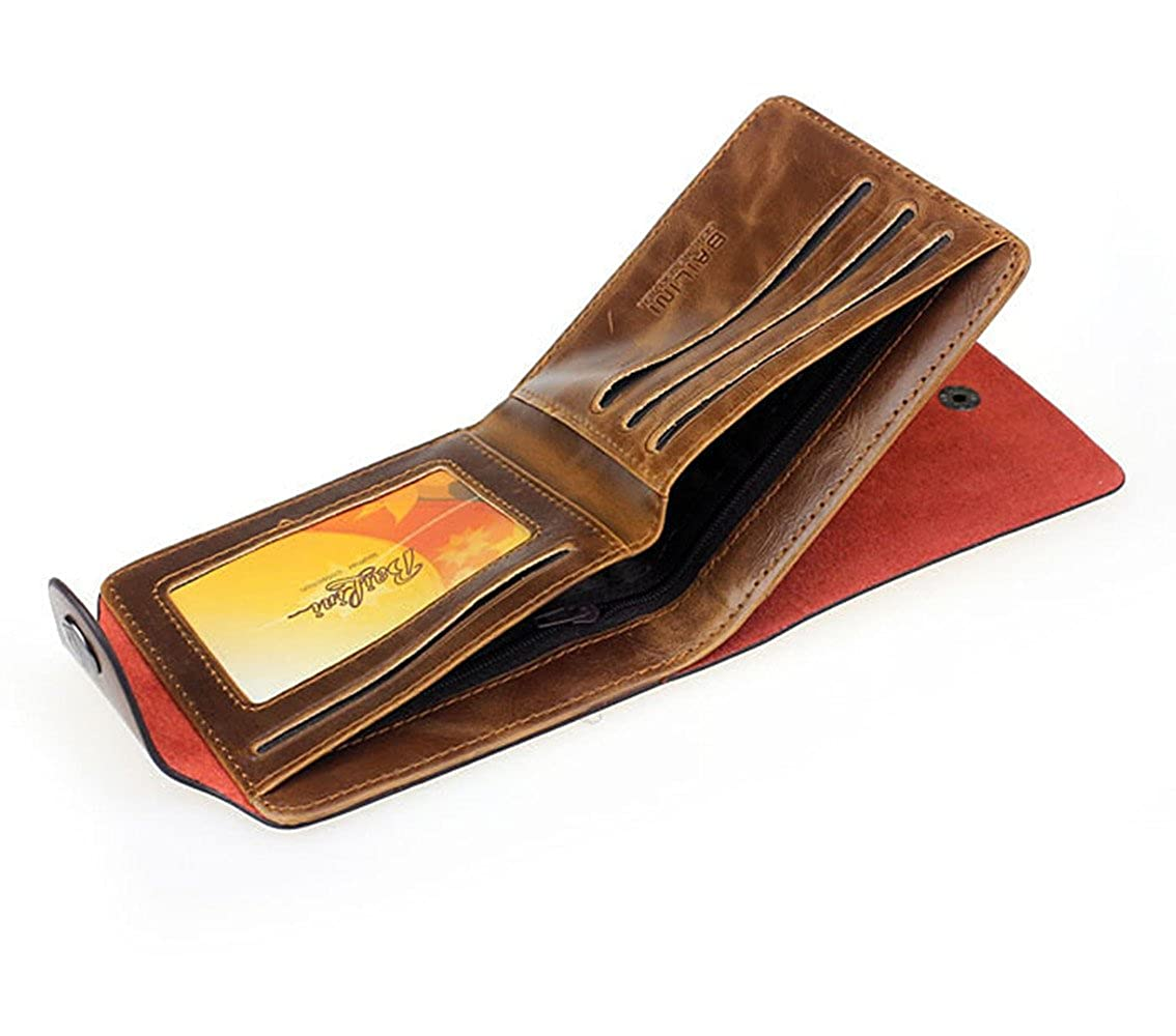 Womail Men Short Bifold Business Leather Handbags ID Credit Card Holder Wallet