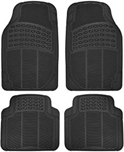 BDK MT654PLUS Heavy Duty 4pc Front & Rear Rubber Floor Mats for Car SUV Van & Truck - All Weather Protection Universal Fit (Black)