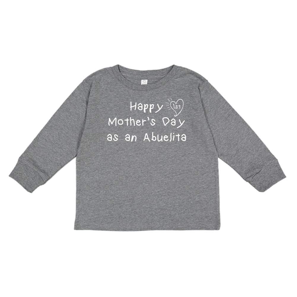 Happy 1st Mothers Day as an Abuelita Kids Handwriting Toddler//Kids Long Sleeve T-Shirt