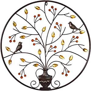 MKUN Iron Wall Sculptures - Metal Round Wall Decor with Tree and Birds Art Great for Home Hotel Decoration (Brown)