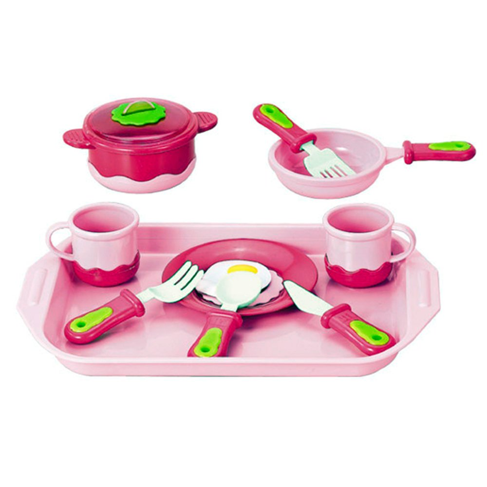 Liberty Imports Cook and Serve Breakfast Playset for Kids with Pink Tray, Kitchen Cookware, Pots and Pans, Egg Play Food