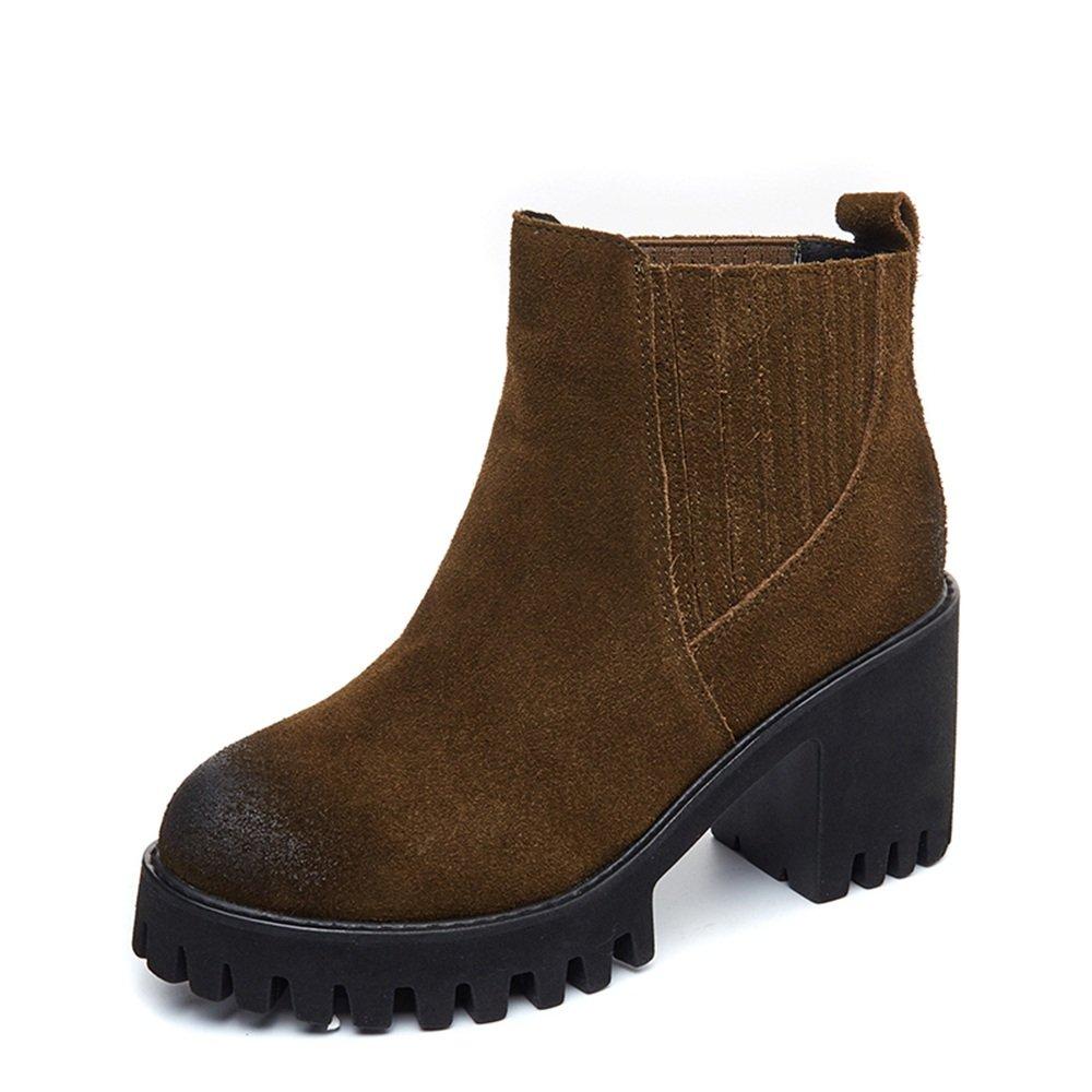 sexy Bottes pour femmes ( britannique ) Hiver Nubuck Chunky Heel Noir Marron Bottes courtes Style britannique ( Couleur : Marron , taille : EU37/UK4-4.5/CN37 ) Marron 92f2667 - boatplans.space