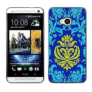 QCASE / HTC One M7 / golpeteo oriental azul corona amarilla de oro / Delgado Negro Plástico caso cubierta Shell Armor Funda Case Cover