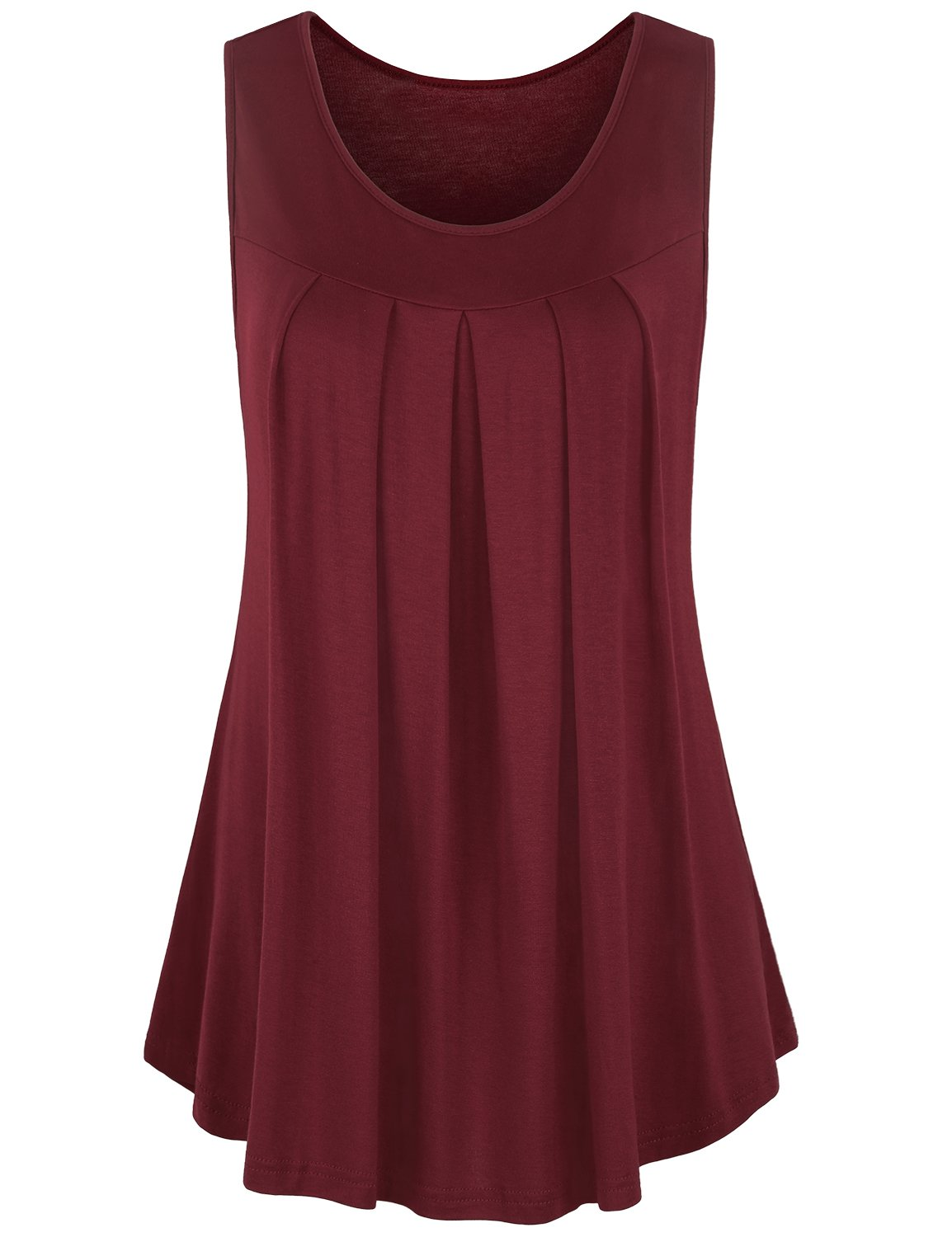 Misswor Sleeveless Tops for Women Womans Scoop Neck Pleated Front Country Style Soft Layered Tunic Tank Wine M