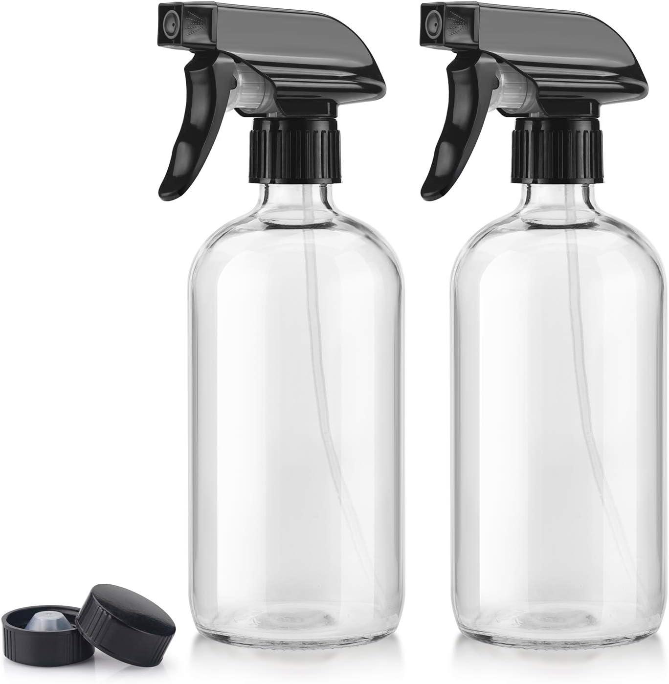 Titanker 2-Pack Spray Bottle, Glass Spray Bottles, Empty Mist Spray Bottle Trigger Sprayer, Refillable 16oz Container (Clear)