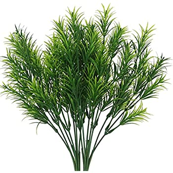 "Senjie 4pcs Artificial Shrubs Plants 13.5"" Pine Leaves Bunches Fake Bushes Home Garden DIY Decor Green"
