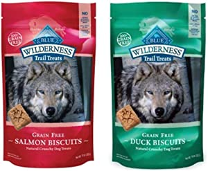 Wilderness Blue Buffalo Trail Treats Grain-Free Dog Biscuits 2 Flavor Variety Bundle: (1) Duck, and (1) Salmon, 10 Ounces