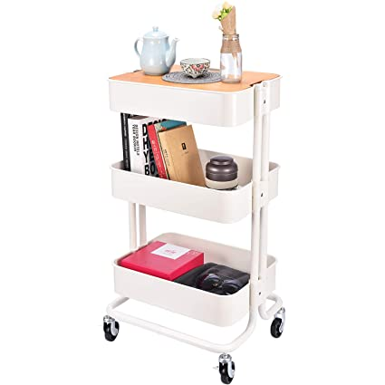 e75281aacc28 3-Tier Metal Utility Rolling Cart Storage Organizer with Cover Board for  Office Home Kitchen Organization, Cream White