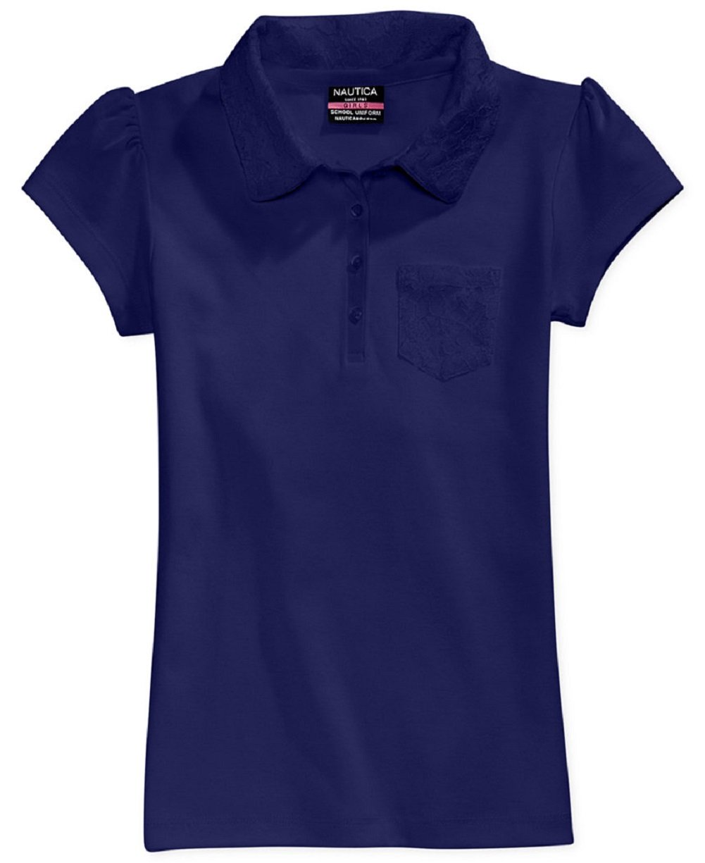 Nautica Girls' 7-16 Short Sleeve Polo Shirt with Lace Summer Navy XL (16)
