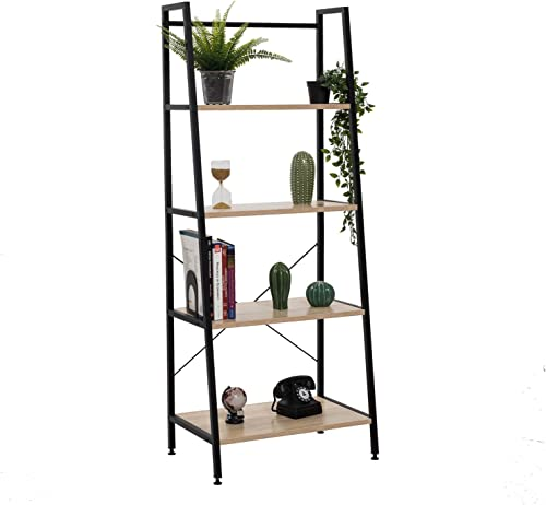 Bestier Vintage Ladder Shelf 4 Tier Bookshelf Metal and Wood Bookcase Home Office Storage Rack Display Shelf P2 Wood