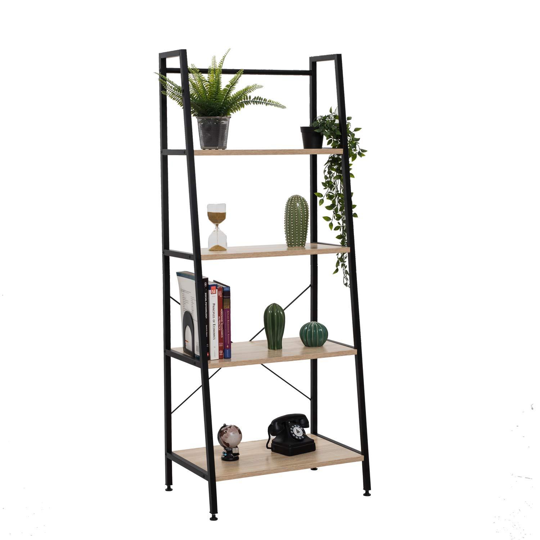 Bestier Vintage Ladder Shelf 4 Tier Bookshelf Metal and Wood Bookcase Home Office Storage Rack Display Shelf (Oak) by Bestier