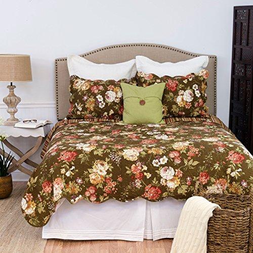 C&F Home Koren 3 Piece Quilt Set All-Season Reversible Bedspread Oversized Bedding Coverlet, Full/Queen Size, Brown