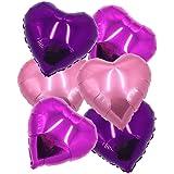 """ballonfritz Herz-Luftballon-Set in Rosegold/Violett/Rosa 6-tlg. - XXL 24"""" Folienballon-Set als Hochzeit Deko, Geschenk oder Liebes-Überraschung zum Valentinstag"""