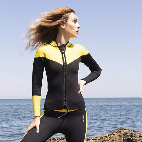 JL-Q Traje De Buceo para Mujer Traje De Buceo Dividido De Neopreno Pantalón De Manga Larga con Protección Solar 2.5 Mm Pantalones Cálidos Chaqueta con ...
